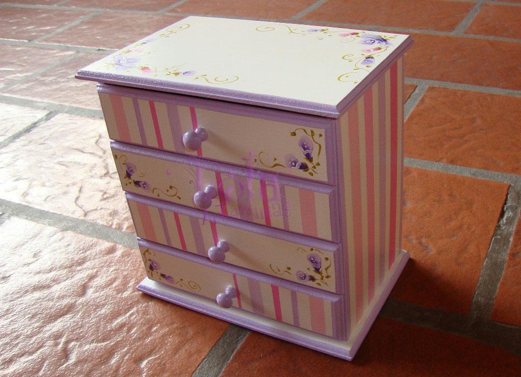 Lola artesan as alhajero rayadito con 4 cajones - Mesas infantiles madera ...