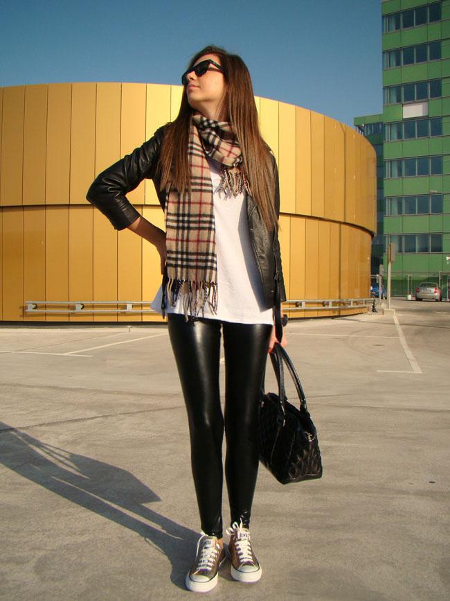 maya madanska from iheartmaya blog wearing converse all star chuck taylor gold metallic trainers, topshop wet look leather leggings, topshop black leather biker jacket, burberry checkered scarf wool cashmere