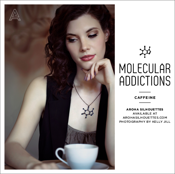 Aroha Silhouettes Molecular Addictions Coffee Addicted To Coffee Caffeine Necklace Jewelry Jewellery Nubby Twiglet