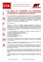 SE CREA LA CATEGORÍA DE ENFERMER@ ESPECIALISTA Y SE MODIFICA LA DENOMINACIÓN DE MATRÓN/A Y ENFERMER