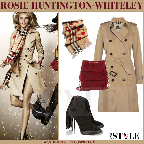 Rosie Huntington-Whiteley in beige trench coat burberry christmas 2015 ad
