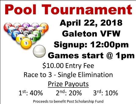 4-22 Pool Tournament Galeton VFW