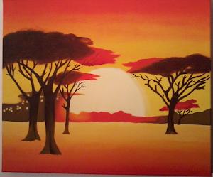Quadro a óleo pintado pela minha filhota - Paisagem africana