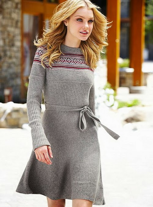 A cute grey woolen winter dress