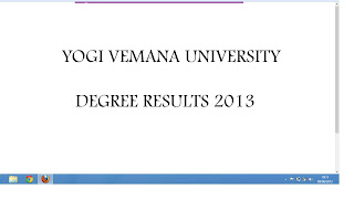 Yogi vemana University degree results 2013