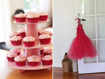 Pink Fairy Princess Birthday Party cupcakes and tutu