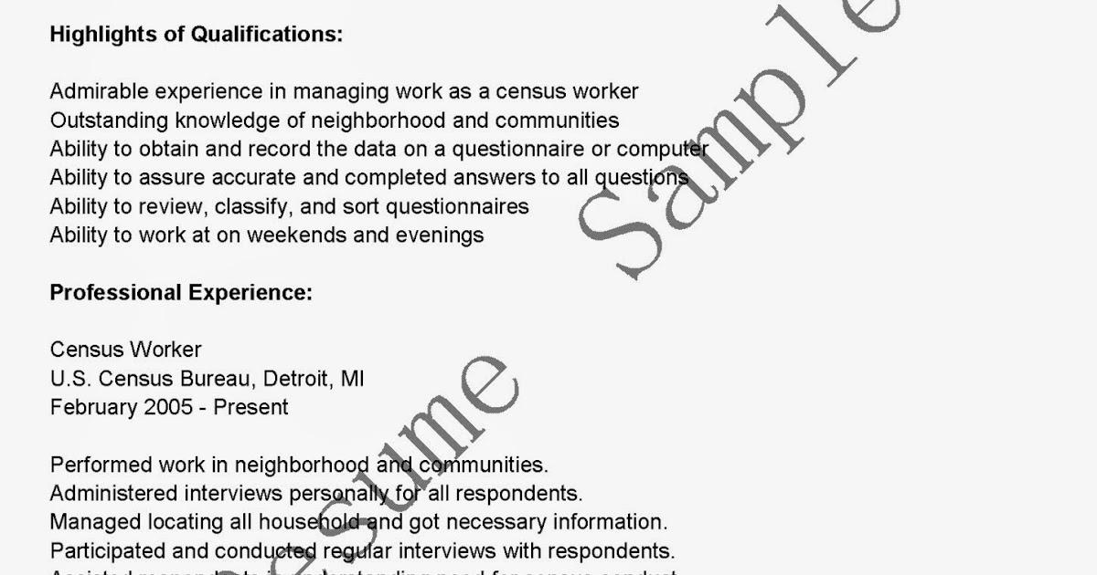 Resume Samples Census Worker Resume Sample