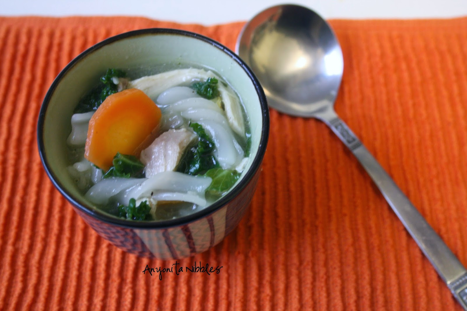 Gluten Free Chicken & Kale Rice Noodle Soup | Anyonita Nibbles