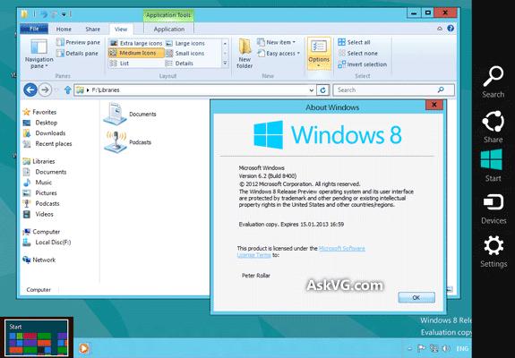 Windows 8 Release preview Build 8400 Keygen