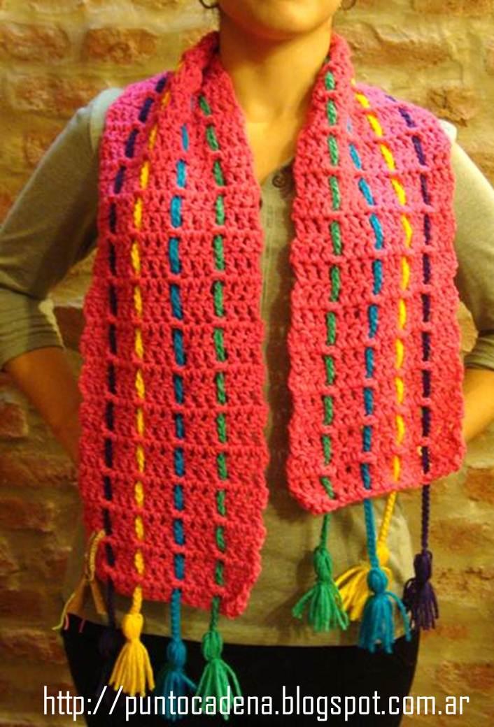 bufanda con cintas de colores