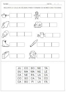 Hipótese de Escrita Silábica Alfabética - Recorte as sílabas e forme palavras 2