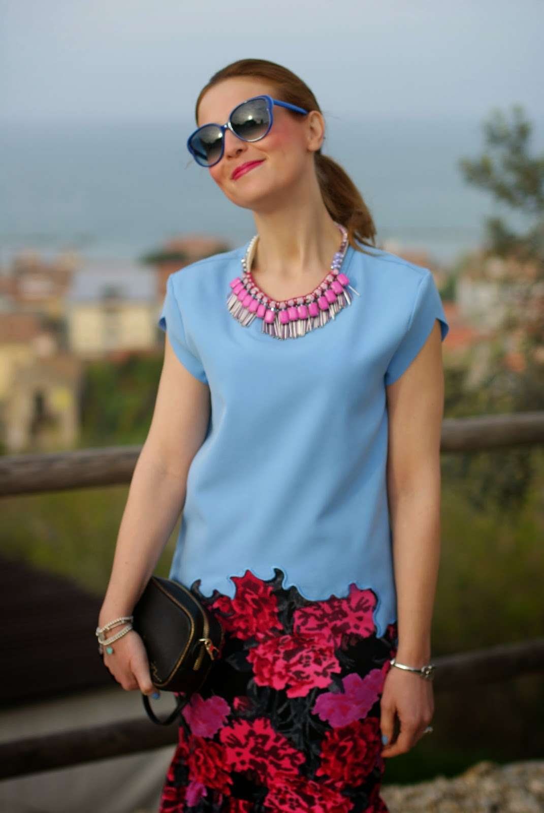 Marc by Marc Jacobs sunglasses, Sodini bijoux pink necklace, zara bonsoir bag, Fashion and Cookies, fashion blogger
