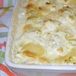 Gratin de quenelles aux courgettes et au fromage ail et fines herbes