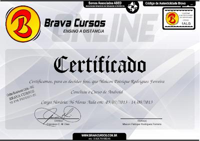 Certificado Brava Cursos