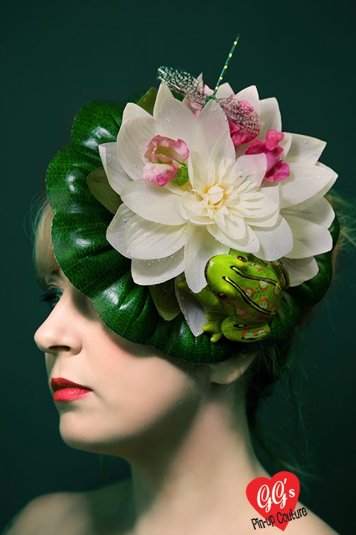 Kitsch Fascinator, quirky, frog, lily pad, ascot