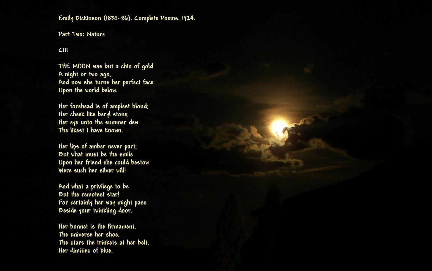 Dickinson s moon poems superimposed i left it large for you too