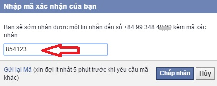 xác nhận tài khoản Facebook