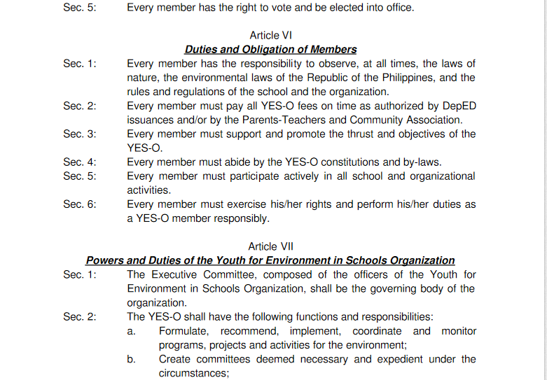 Constitution And By-Laws,Of The Youth Environment In Schools (YES ...