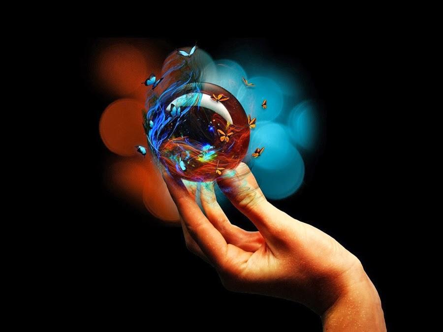ciencia y fe mano con esfera