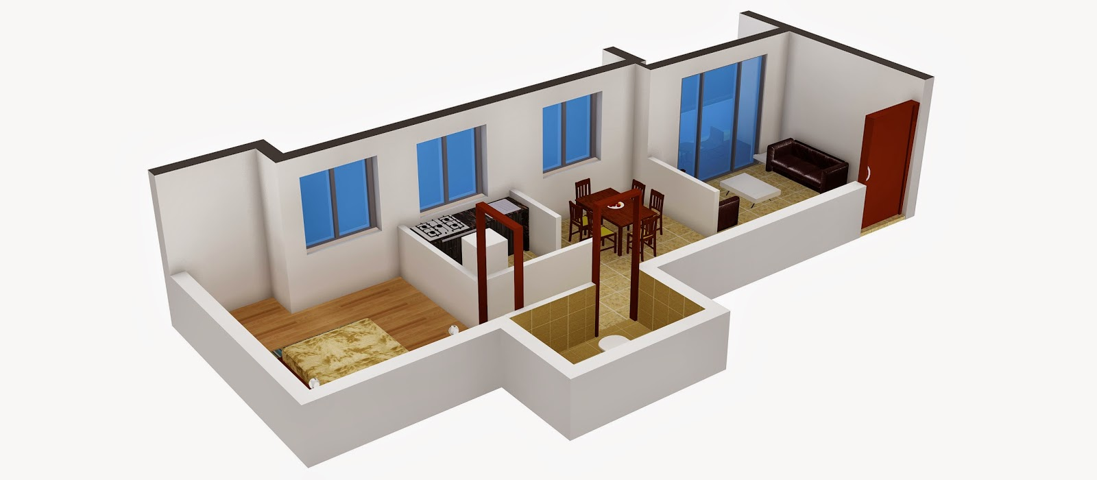 Interior design 1 bhk flat for 3 bhk flat interior designs