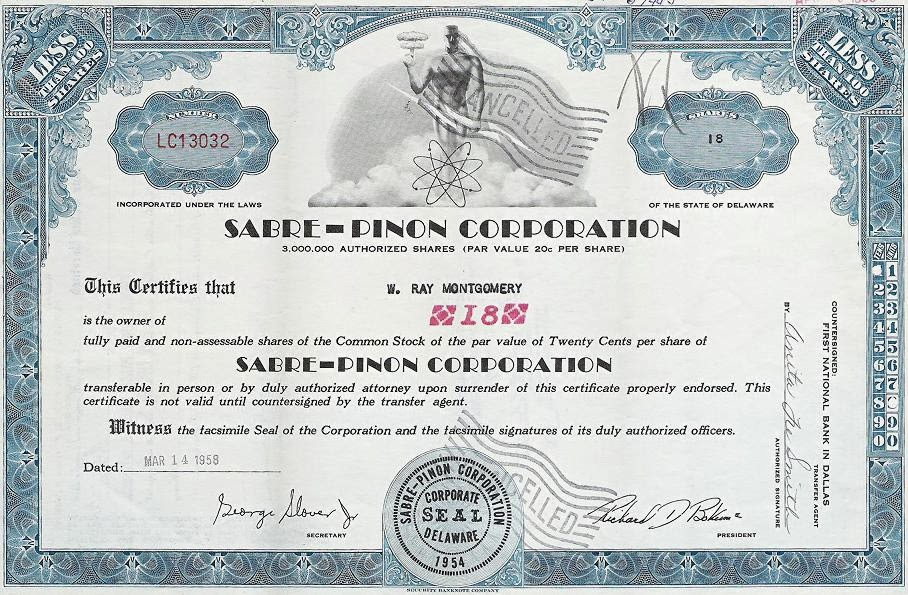 Sabre-Pinon uranium mining stock certificate