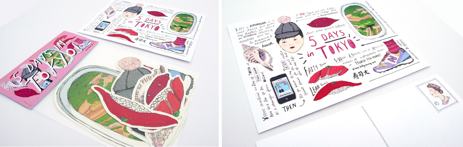 Kitty N. Wong / 5 Days in Tokyo Illustrated Postcard and Sticker Set