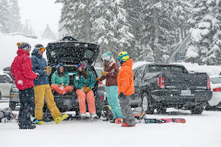 Sports Photographer Ian Coble Photographs Group of 20 somethings skiing
