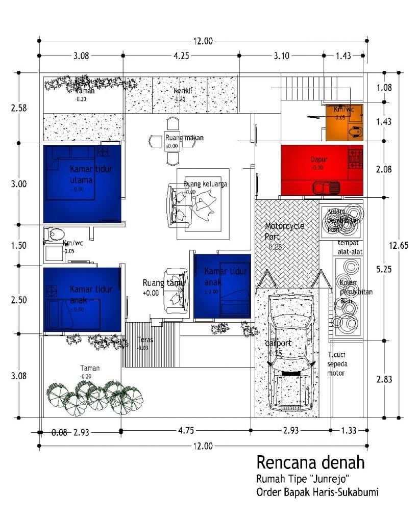 desain denah rumah minimalis 1 lantai 3 kamar