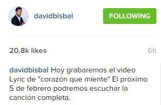 Bisbal confirma en instagram corazón que miente