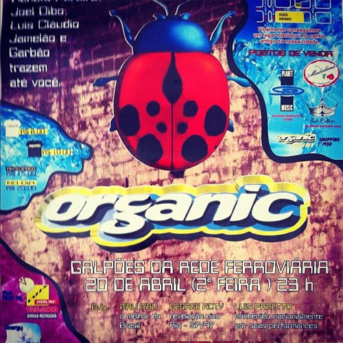 Flyer festa Organic - estação ferroviária em 1998