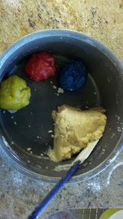 piñata cookie dough divided into colors
