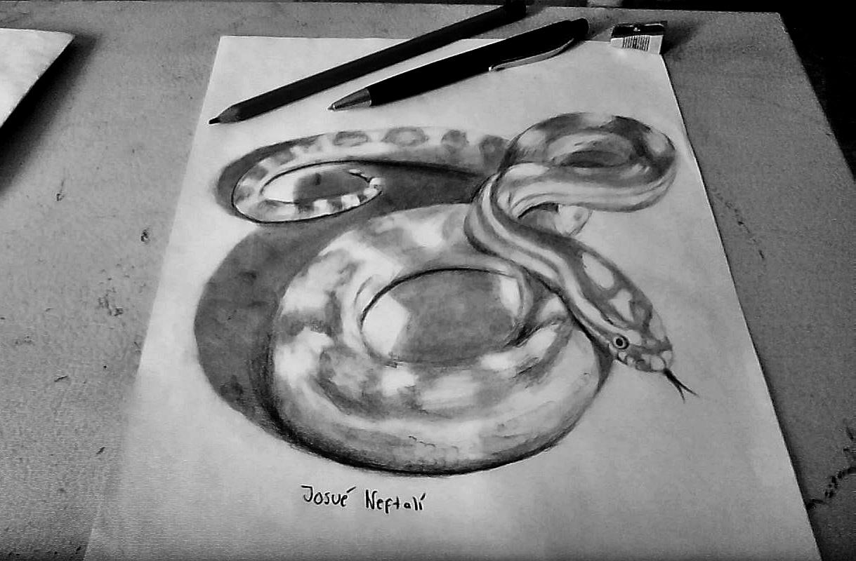 Dibujando en vivo Serpiente+dibujo+3d