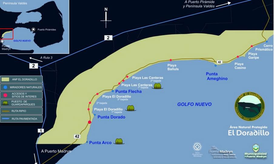 Map Protected Natural Area El Doradillo - Puerto Madryn
