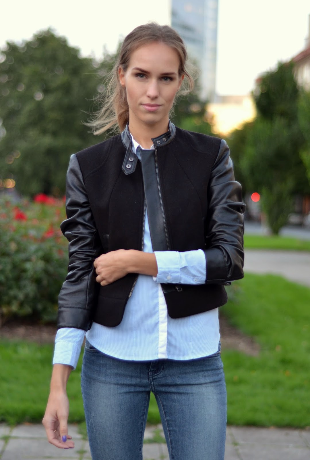 hm-leather-jacket-blue-shirt