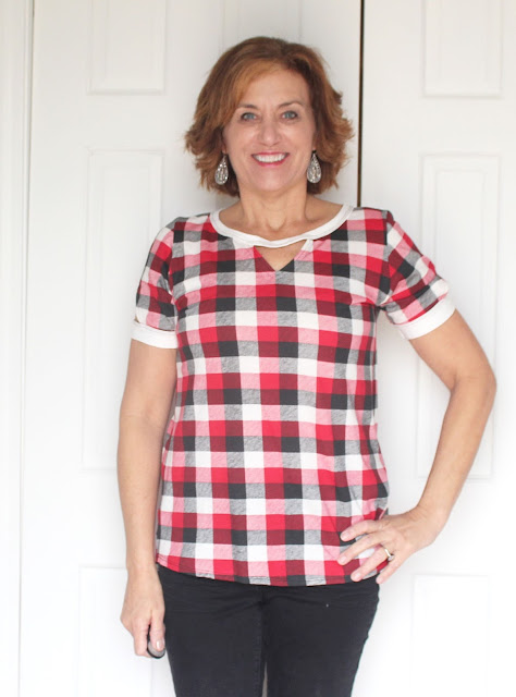 Indiesew Neptune tee with triangle cutouts using a plaid knit