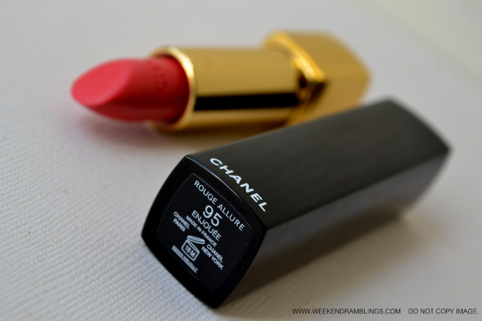 Chanel Makeup Rouge Allure Luminous Intense Pink Coral Lipstick Enjouee Indian Beauty Blog Reviews Ingredients Swatches FOTD Looks Darker Skin