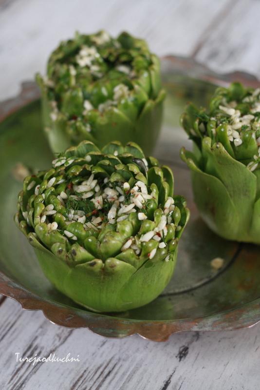 karczochy oliwa z oliwek ryz zielenina