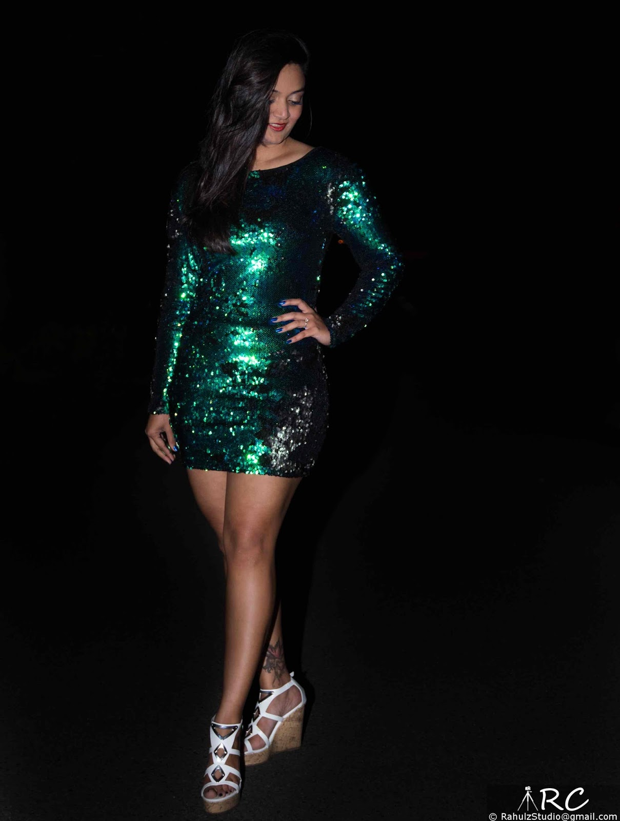 Green Bodycon dress, Sequenced dress, Club wear, Indian girl short dress, Club Dress, Bandage dress