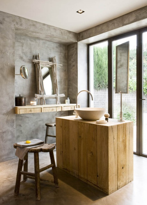 A Unique Bathroom Idea!!! You Can Mix Modern With Rustic In Order To Have  An Amazing Result... Use Raw Wood To Construct Furniture Of Modern Lines  And Place ...
