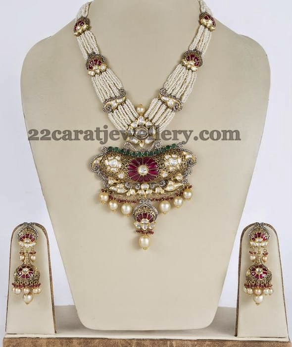 Pearls Set with Dull Finish Jhumkas