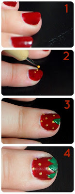 Cute strawberry nails in just 4 easy steps!