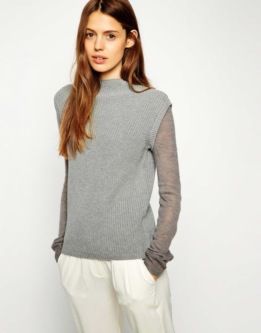grey jumper with sheer sleeves