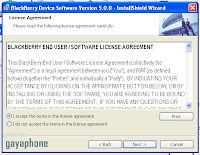 license agreement blackberry os install