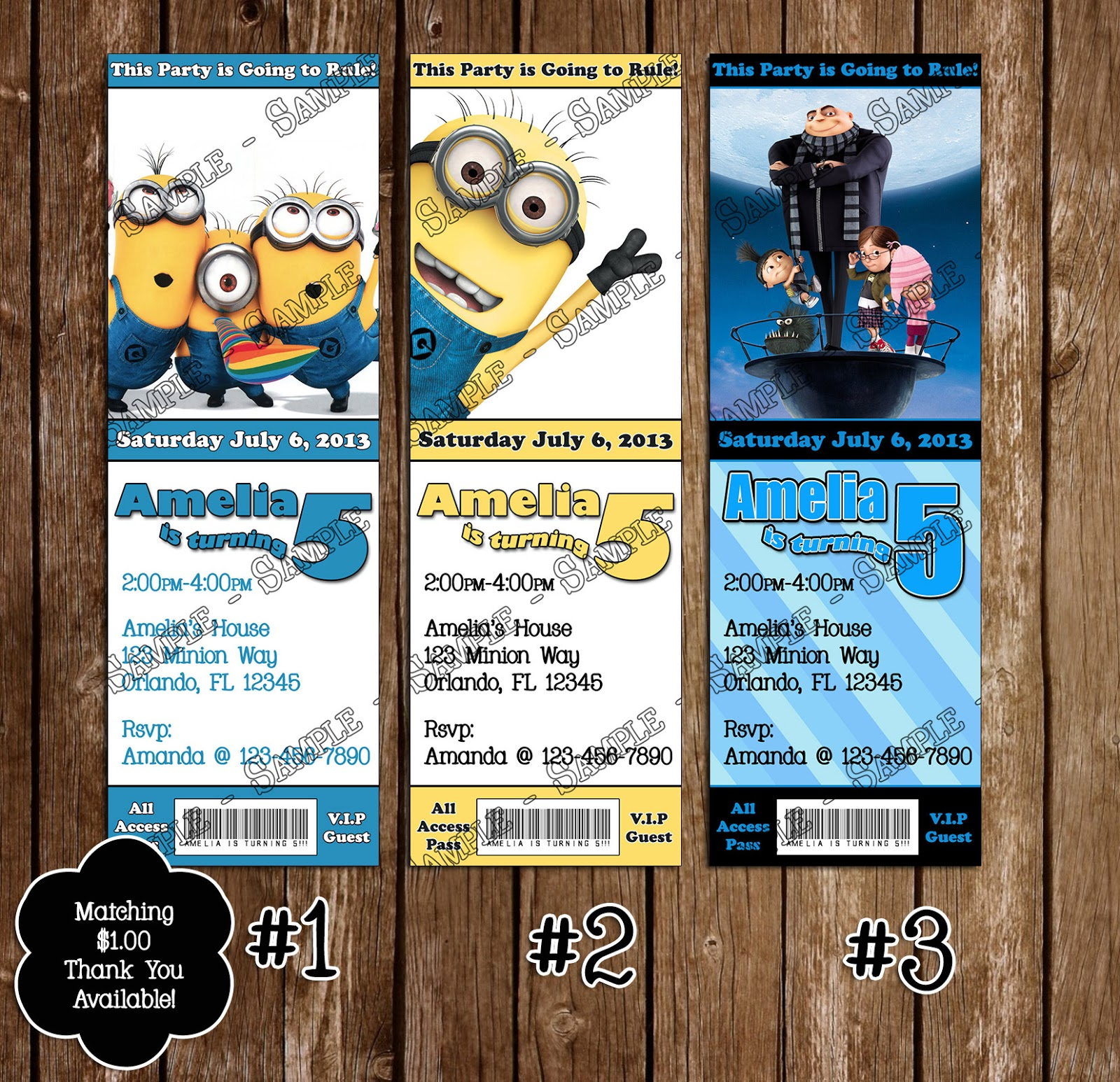Novel Concept Designs Despicable Me Birthday Invitations and Thank