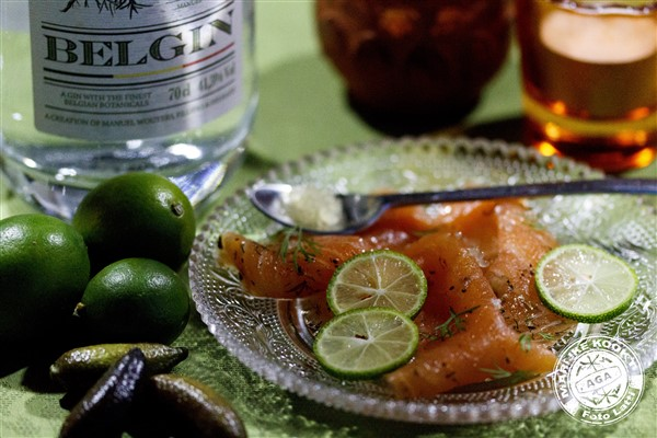 Zalm met gin - Limquats - Finger Lime