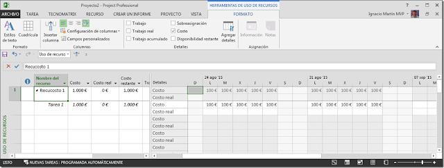 Recurso Tipo Costo - Imagen 1 - Microsoft Project