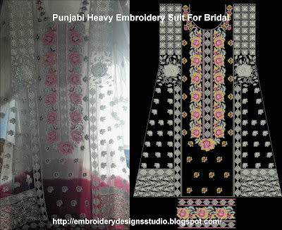 Punjabi embroidery for bridal salwar kameez