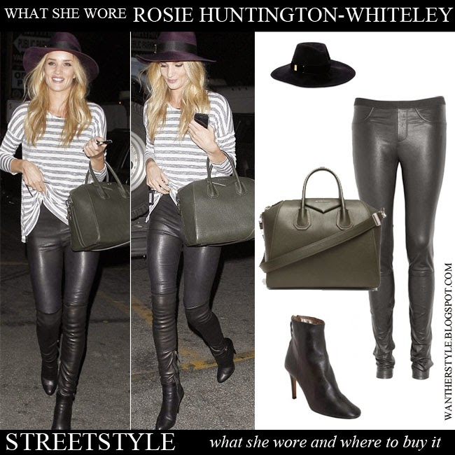 Rosie Huntington-Whiteley in leather skinny pants Helmut Lang, stripe top, felt fedora Eugenia Kim, ankle boots Isabel Marant Aliah and large leather tote Antigona Want Her Style