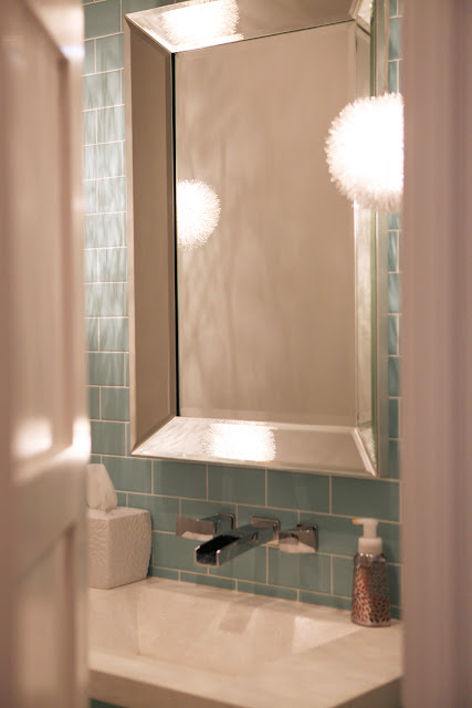 Tiffany Blue Bathroom Beveled Mirror Pendant Light Concrete Countertop