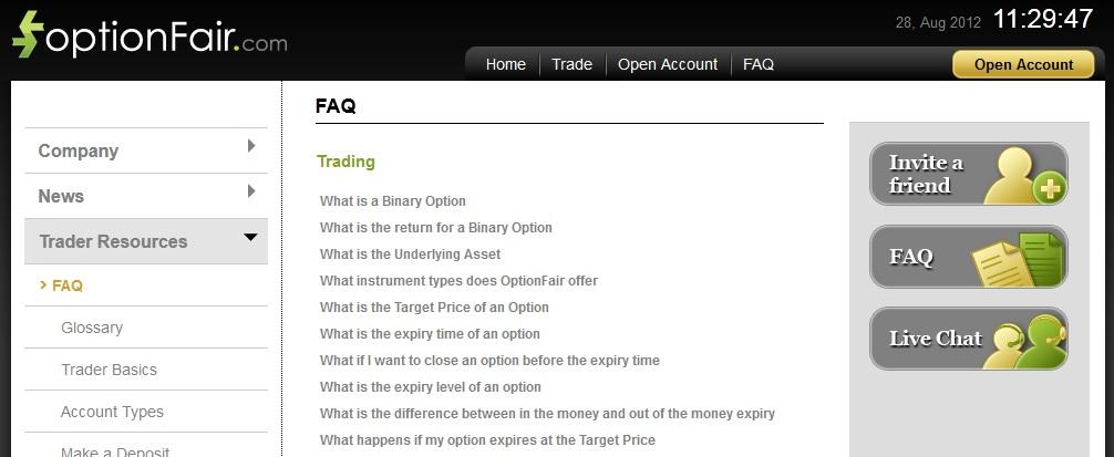 Binary option faq